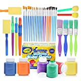 glokers Complete Set of 30 Paint Brushes Bundle with Crayola Washable Kid's Paint