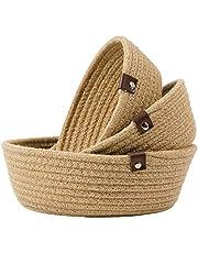 Goodpick 3pack Small Basket - Cotton Rope Basket Woven Storage Basket for Living Room Bathroom Storage Basket for Towels Cute Round Basket for Baby Toy Storage for Shelves Gift Baskets