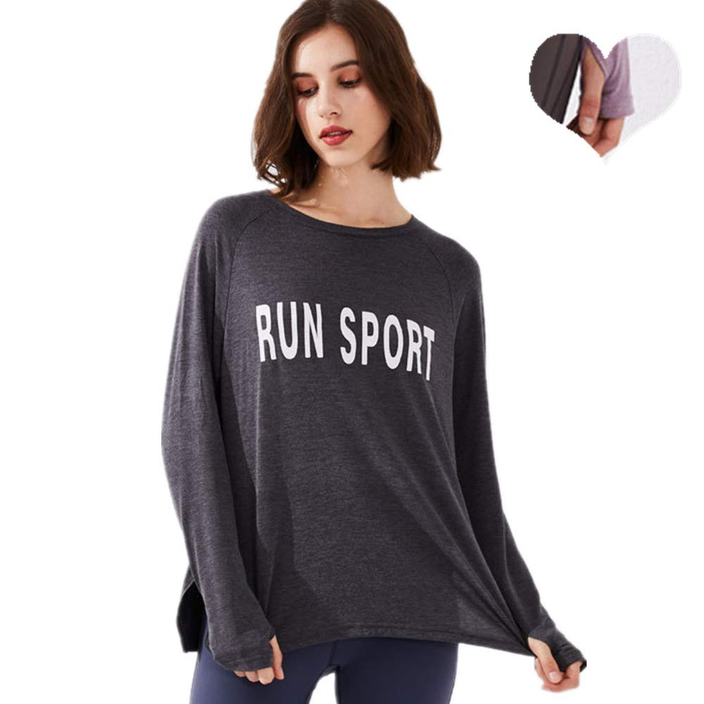Gogh Super Soft Workout Langarm-Laufshirt mit Daumenloch, Indoor-Training Jacke für All Round Jahreszeiten, Loses bequemes Laufen Hemd,Schwarz,L