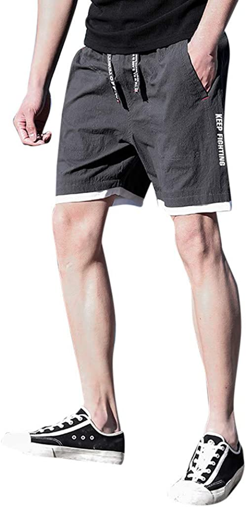 ONTBYB Mens Classic-Fit Solid Cargo Short Elastic Waist Gym Shorts