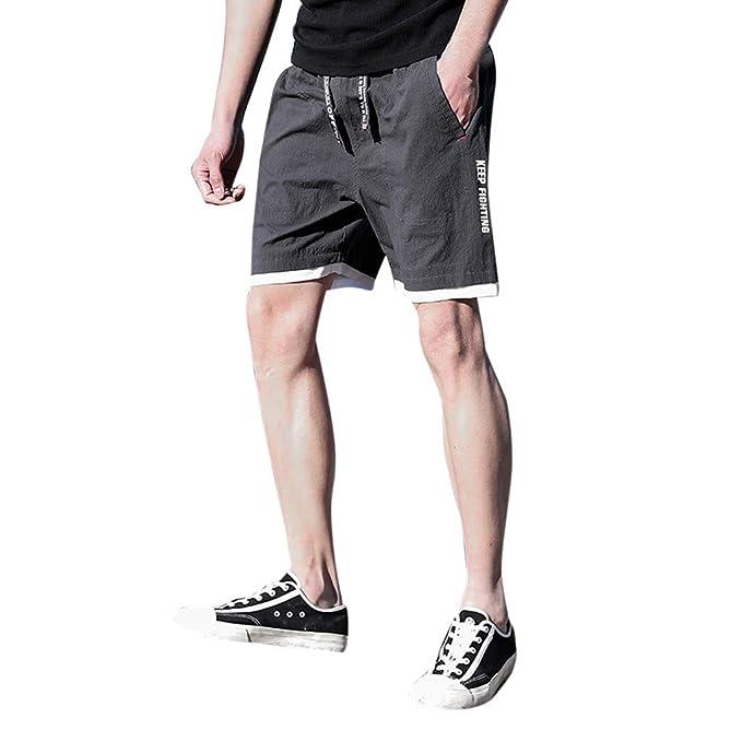 9120790956 BYSTE_Uomo Pantaloncini da Spiaggia Nuovo Estate Casuale Sciolto Cintura  Coulisse Cotone Cotone e Lino Spiaggia Pantaloni Corti: Amazon.it:  Abbigliamento