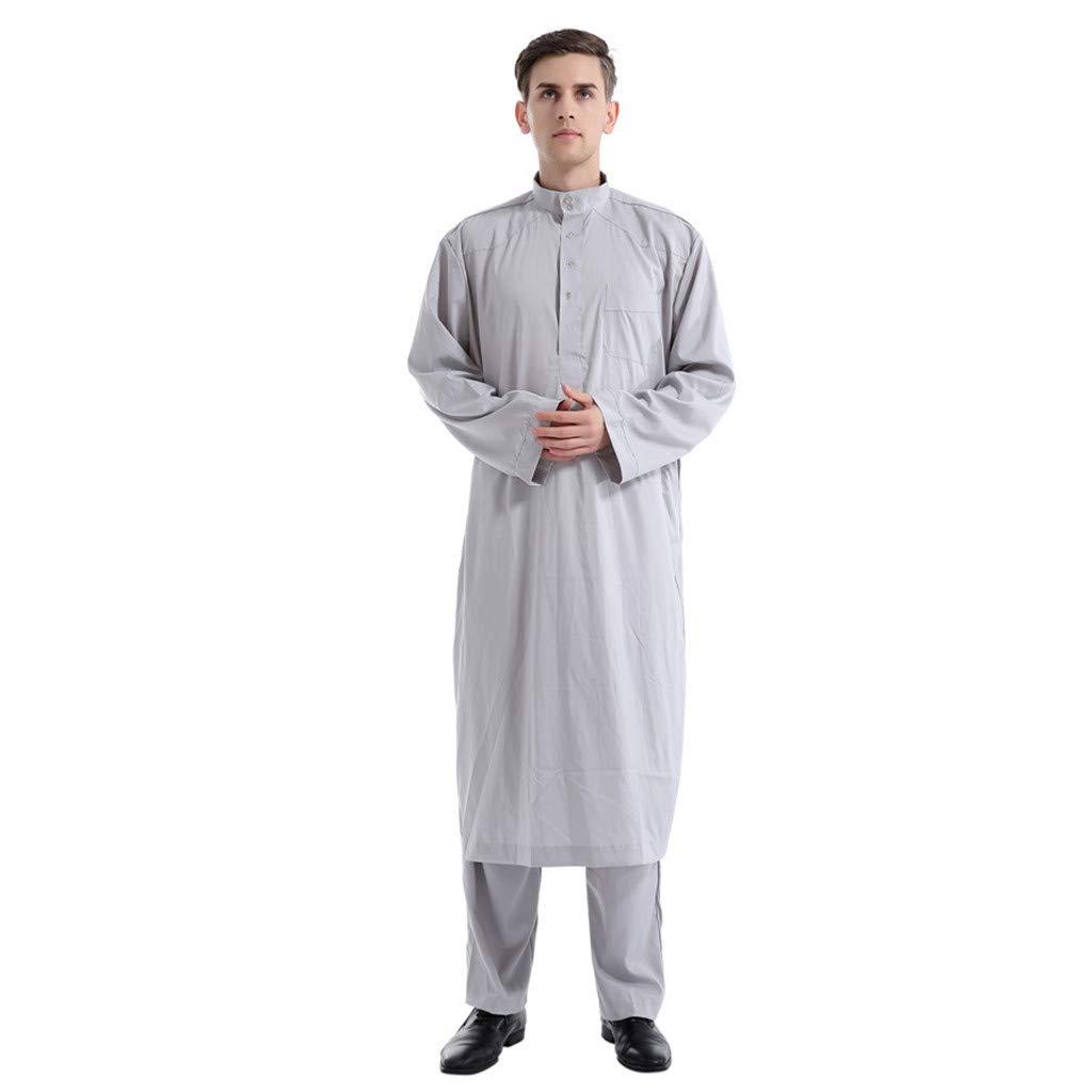DMZing Quality Ramadan Kareem Men Ethnic Long Sleeve Islamic Muslim Middle East Maxi Robes Pants Suite Kaftan