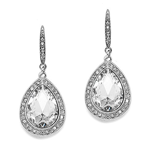 Pear Shaped Crystal - Mariell Top-Selling Pear-Shaped Crystals Dangle Earrings for Wedding, Bridal, Prom, Bridesmaids & Fashion