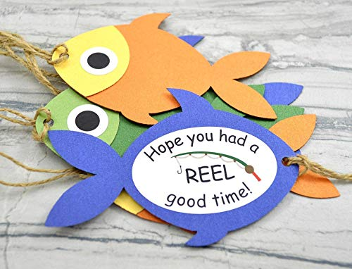 Fishing Theme Party Favor Fish Gift Tags - Set of 12 -
