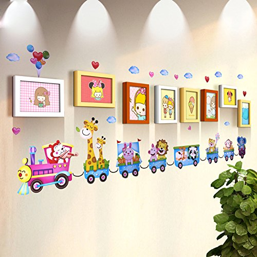 TIANTA- 8 Frame Solid Wood Frame Wall Children's Room Photo Wall Simple Modern Wall Stickers Frame Combination Kindergarten Photo Wall adorn ( Color : #4 )