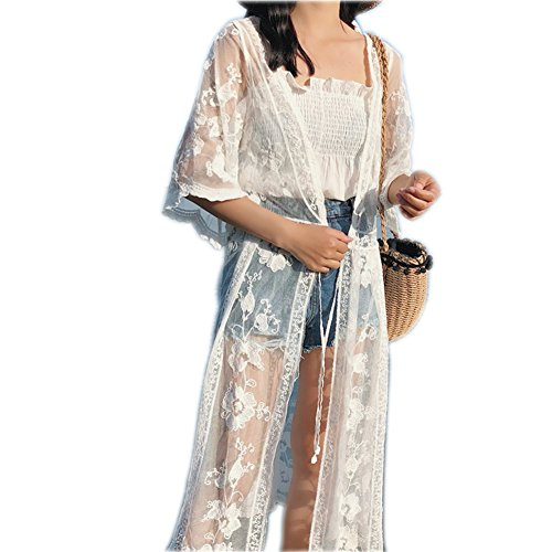 VenuStar Womens Long Embroidered Lace Kimono Cardigan with Half Sleeves