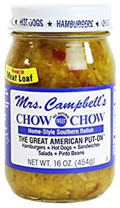 Mrs. Campbell's All Natural Sweet Southern Chow Chow Relish, 16 Oz Glass Jar