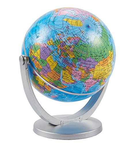 World Globe - 4-inch Globe of The World with Stand, Spinning Rotating Globe for Kids, Geography Teachers, Parents as Home, Office Desktop Decoration, Educational Tool, Classic Blue, 5 inches Tall