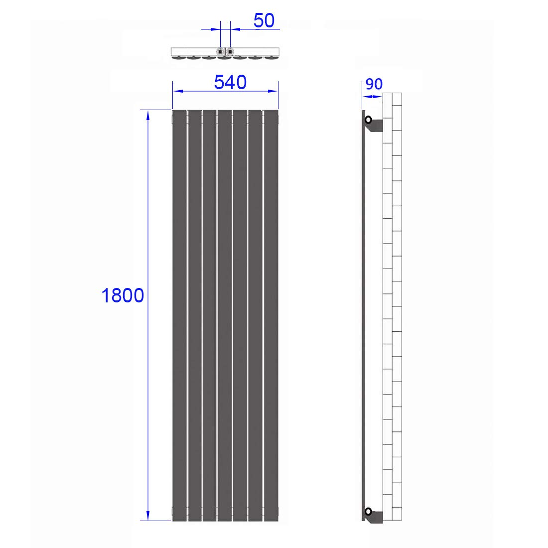 Wei/ß Vertikal Heizk/örper Design Paneelheizk/örper 1800x540mm Flach Doppellagig Mittelanschluss Heizung