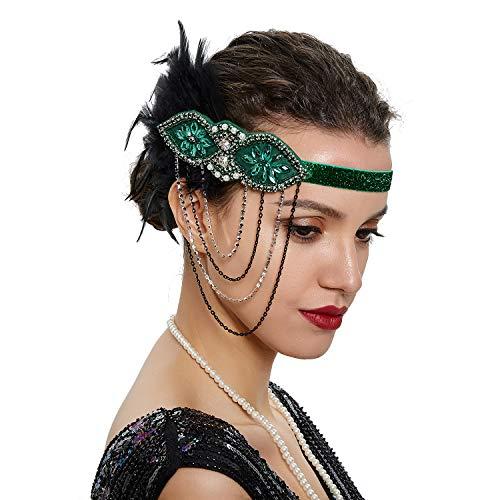 SLSHJY 1920s Flapper Headband Showgirl Tassel Headpiece Great Gatsby Headband Tea Party Headwear with Feather for Women (Green)]()