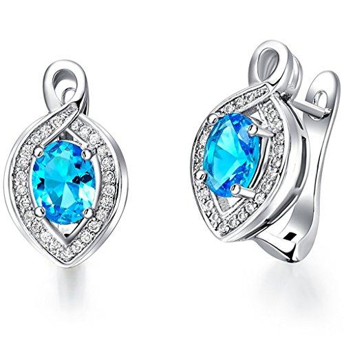 (Epinki, Women's Silver Plated Jewelry Fashion Stud Earrings Gem Ear Clip)