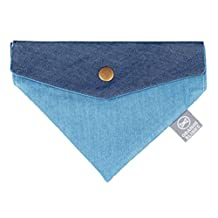 Orange Blinks 1-Piece Dual-Denim Design Bandanna, Small, Denim Blue