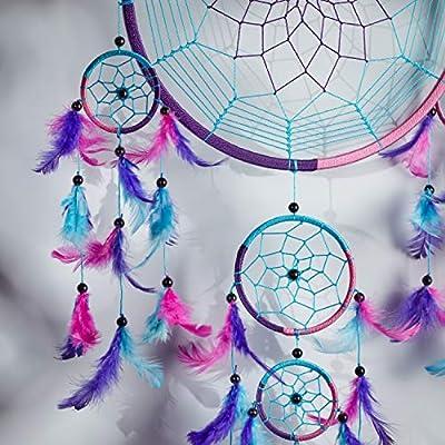 Lila T/ürkis Blau Rosa Pink Pineapple Dreamcatcher bunt mit Federn: Handgemachter Traumf/änger in Vielen Farben Gro/ßer Traumf/änger Mit 22 cm Durchmesser und 60 cm Lang