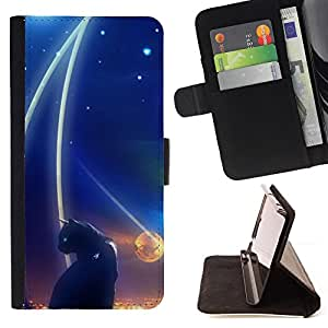 Abstract Black Cat Night Space Dark - Painting Art Smile Face Style Design PU Leather Flip Stand Case Cover FOR HTC One M9 @ The Smurfs