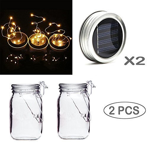 2 Pack Mason Jar Lid Lights For Outdoor Décor , Solar Fairy Firefly SurLight With 10 LED , Party Wedding Upgraded Flashing Light For Patio, Yard, Deck Garden, Halloween (Jars Included) Color Random -