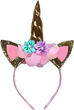 colore: oro decorazione per feste o travestimenti in occasione di cosplay con orecchie con glitter e fiori Cerchietto con corno di unicorno