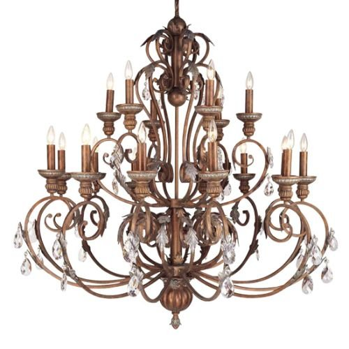 Livex Lighting 8159-17 Chandelier with Crystal Shades, Crackled Bronze with Vintage Stone Accents