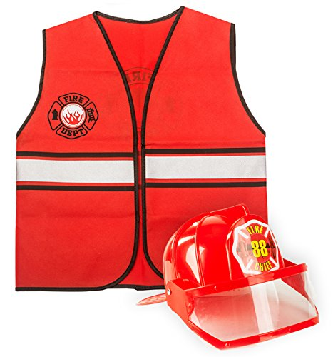 Tigerdoe Fireman Costume - Construction Costume - Occupation Costume (Red Fireman Hat and Vest)]()