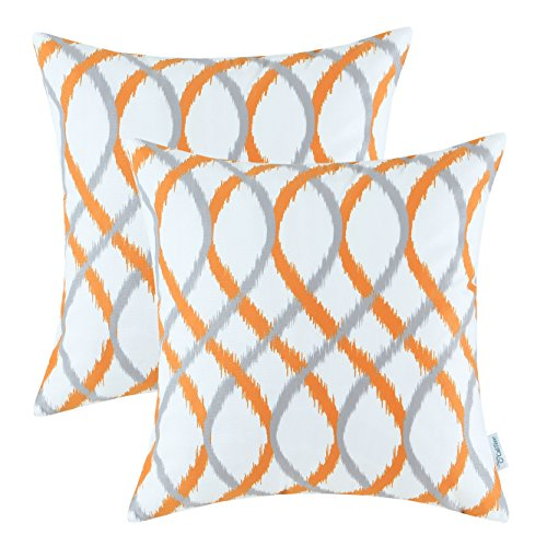 CaliTime Pack of 2 Cozy Fleece Throw Pillow Cases Covers for Couch Bed Sofa Modern Two-Tone Waves Geometric 20 X 20 Inches Gray Orange (Orange And Grey Cushions)