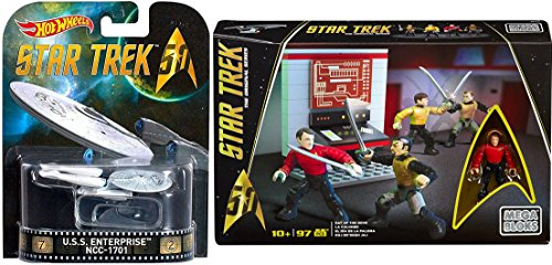 Cult Classic Movies Costumes (Hot Wheels Star Trek Space Pack U.S.S. Enterprise 25th Anniversary + Star Trek Day of the Dove Collector Figures Construction Set 2-PACK)