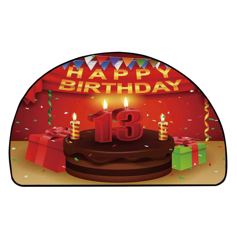 C COABALLA 13th Birthday Decorations Comfortable Semicircle Mat,Creamy Chocolate Cake with Candles Presents Ribbons Festive Theme for Living Room,11.8'' H x 23.6'' L