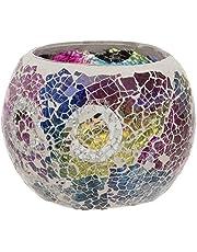 Maturi Portavelas de Cristal Agrietado, Multicolor, 8 x 7.5cm
