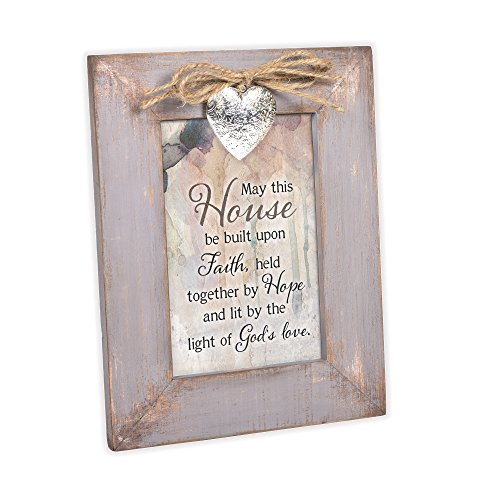 Cottage Garden This House Faith Hope Gods Love Grey Distressed Locket Easel Back Picture Frame by Cottage Garden