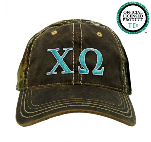 Chi Omega (Chi O) Embroidered Camo Baseball Hat, Various Colors