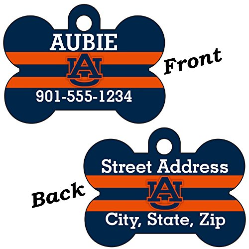 Auburn Tigers Double Sided Pet Id Dog Tag Personalized With 4 Lines of Text ()