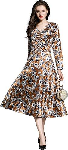 Brautjungfer Elegante Samt Midi Ausschnitt Langarm Abendkleider Blumendruck Ballkleider Ababalaya Damen Hochzeit V gZWCvR