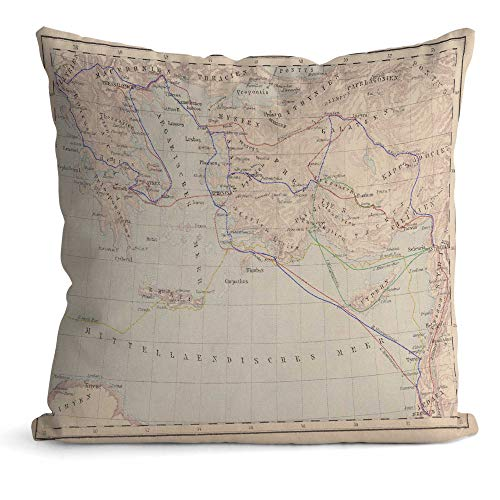 Nine City Apostle Paul's Missionary Journeys,Throw Pillow Cushion Covers Lithograph Decorative Square Accent Pillow Case 22