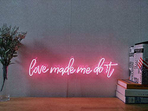 Love Made Me Do It Real Glass Neon Sign For Bedroom Garage Bar Man Cave Room Home Decor Handmade Artwork Visual Art Dimmable Wall Lighting Includes Dimmer