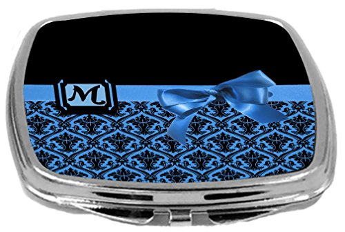 - Rikki Knight Letter-M Monogram Damask Bow Design Compact Mirror, Blue, 2 Ounce