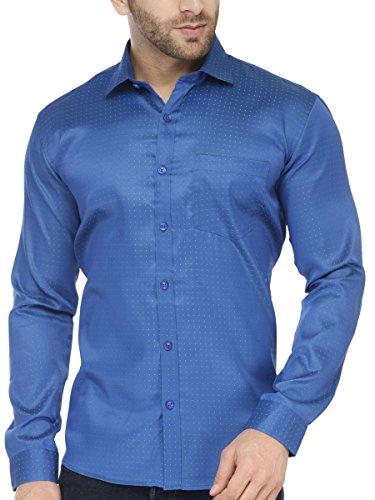 BEING FAB Men #39;s Polka Print Casual Dark Blue Shirt