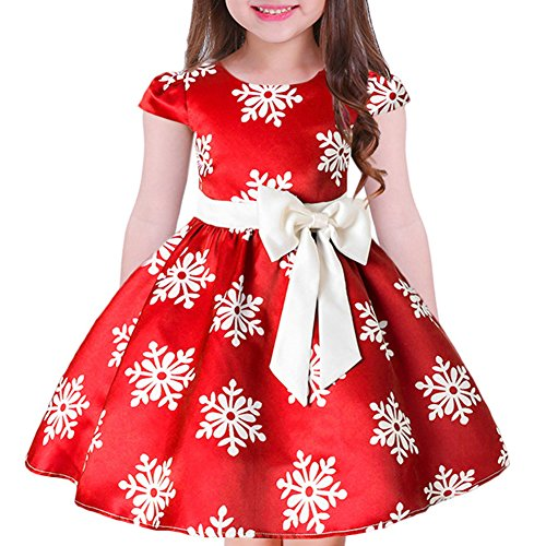 Tueenhuge Baby Girls Christmas Dress Toddler Snowflake Print Party Wedding Formal Dresses (Red, 7-8 Years) -
