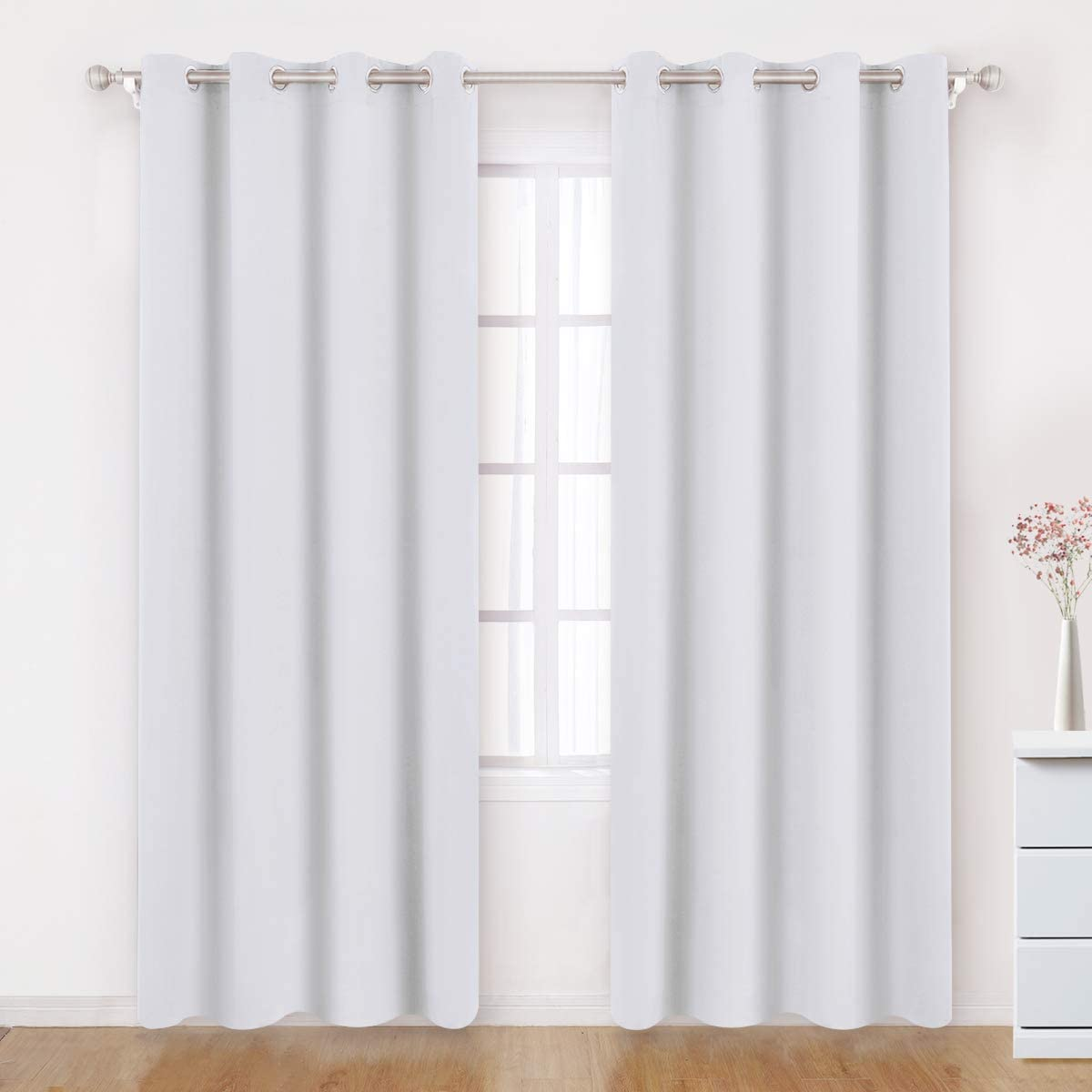 BYSURE Greyish White Blackout Curtains 52 x 84 Inch Length 2 Panels White Room Darkening Curtain Thermal Insulated Drapes White Grommet Blackout Curtains for Bedroom Curtains Sets