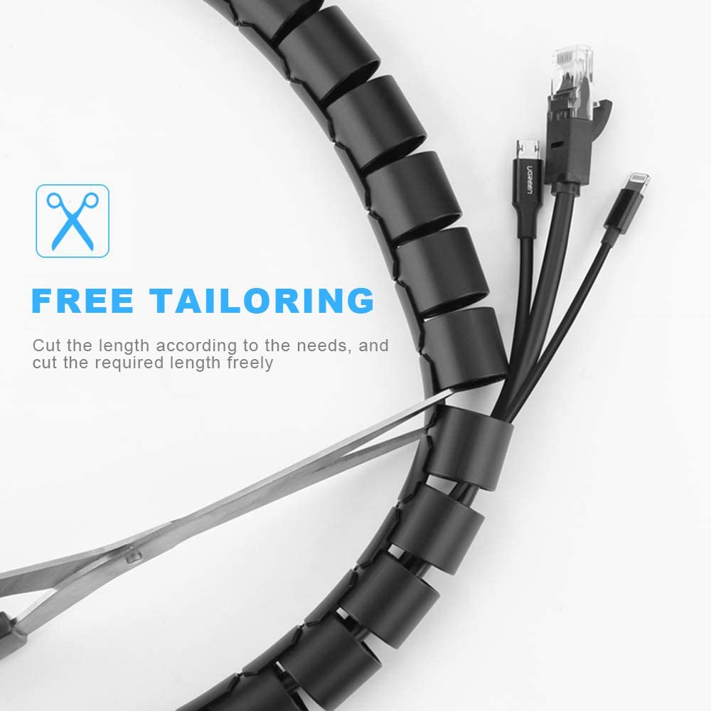 Cable Management Sleeve Cable Tidy Sleeves Flexible Cable Tidy Tube for PC TV Computer 3pcs, 22mm, 1m, Grey Home and Office Cord Organizer DIY Flexible on Home or Office Heiqlay Cable Tidy Tube