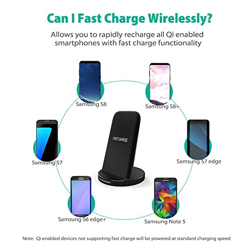 RAVPower Galaxy S8 Fast Wireless Chargers 2 Coils QI Wireless Charging Pad Quick Charge for Samsung S8 Plus S7 S7 Edge S6 and All Qi-Enabled Devices