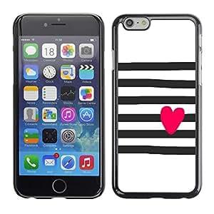 TopCaseStore / la caja del caucho duro de la cubierta de protección de la piel - Heart Art Drawing Pink Black White - Apple iPhone 6 Plus 5.5