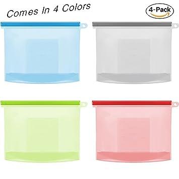 4 bolsas de silicona reutilizables para la conservación de ...