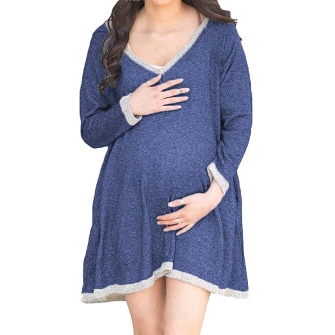 Hibote Otoño Vestidos de Maternidad Invierno de Manga Larga de Punto Ropa Embarazada Vestidos para el Embarazo Mujer: Amazon.es: Ropa y accesorios