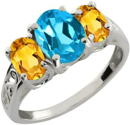 2.30 Ct Oval Swiss Blue Topaz and Yellow Citrine Sterling Silver Ring