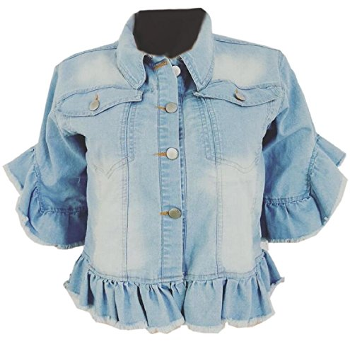 (FLCH+YIGE Women Casual Short Sleeve Ruffle Short Crop Denim Jacket Coat Light Blue S)