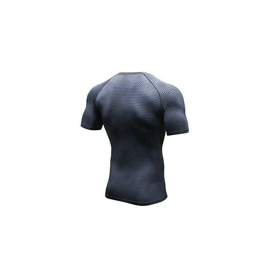 GAOAG Men's Workout Gym Fitness Top Compression Grid Bodybuilding Muscle Training Athletic T shirt