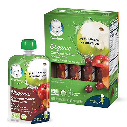 Gerber Organic Coconut Water Splashers, Cherry Sweet Potato Apple, 3.5 Ounces (Pack of 16)