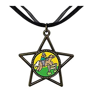Chicforest Bronze Retro Style Olympics male player Equestrian practice Five Pointed Star Pendant