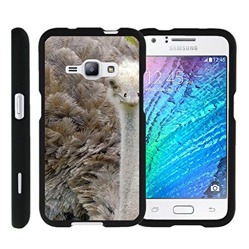 - TurtleArmor   Compatible for Samsung Galaxy J1 Case (2016)   J120 [Slim Duo] Slim Compact 2 Piece Hard Snap On Case Grip Matte on Black Animal Design - Ostrich