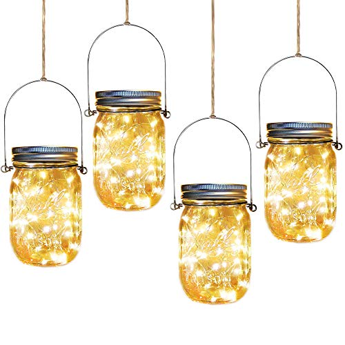 (Solar Mason Jar Lights,4 Pack 30 Led Starry Fairy String Hanging Jar Lights,Solar Lanterns for Outdoor Patio Party Garden Wedding Christmas Decor Lights(Mason Jars/Handles Included))