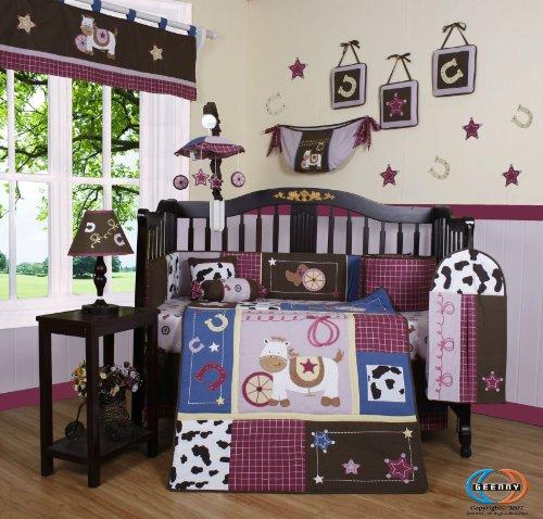Boutique Horse Western Cowgirl 13PCS CRIB BEDDING SET (Crib Set Horse)