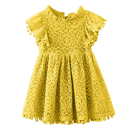 Kids Girl Hollow Lace Dress pom pom Short Sleeve Princess Frilled Waist Dress (4-5T, Yellow)